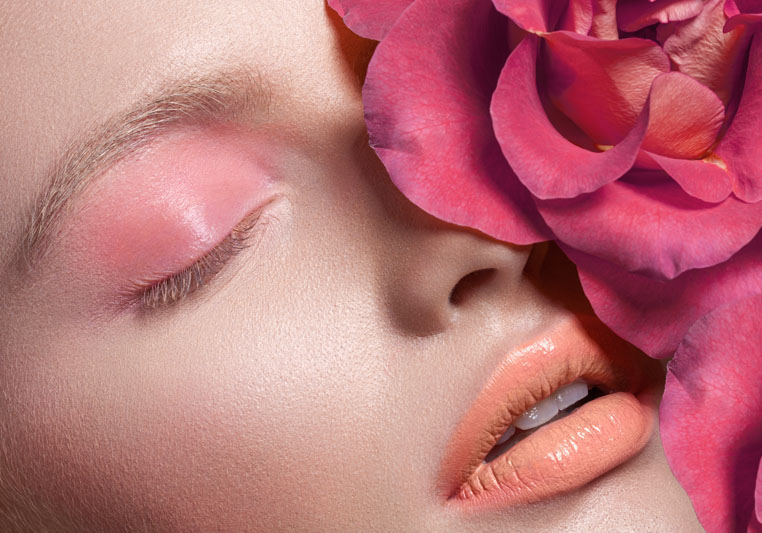 pink eyeshadow lips roses beauty makeup